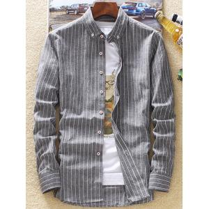 Casual Vertical Stripes Button Down Shirt - GRAY 4XL