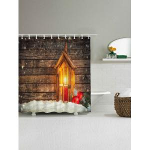 Waterproof Christmas Candle Wood Shower Curtain -