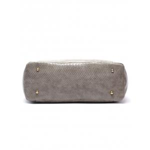 Faux Leather Crocodile Printed Shoulder Bag - GRAY
