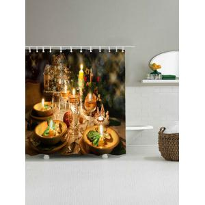 Waterproof Christmas Candle Shower Curtain - GOLDEN W71 INCH * L79 INCH