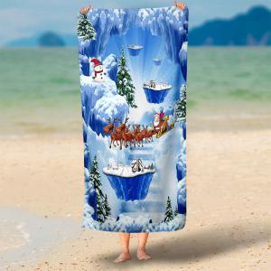Magic Snow Scenery Print Bath Towel - BLUE 75*150CM