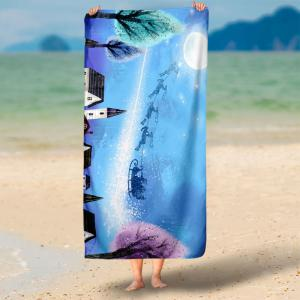 Water Absorption Christmas Sled Pattern Bath Towel -