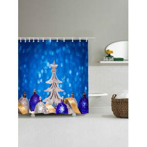 Christmas Tree Balls Waterproof Shower Curtain - BLUE W71 INCH * L79 INCH