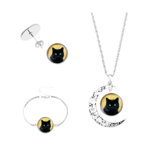 Moon Cat Halloween Necklace Bracelet and Earrings -
