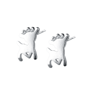 Rhinestone Tiny Reindeer Christmas Stud Earrings - Argent