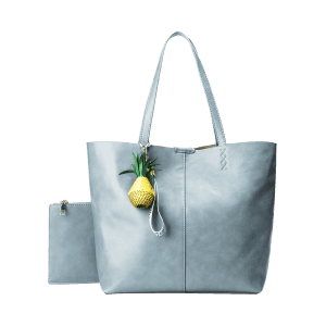 Faux Leather Pineapple Pendant Tote Bag Set - BLUE