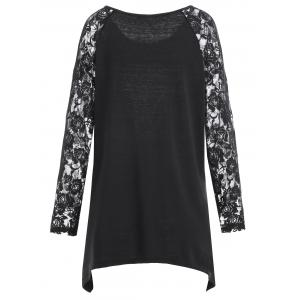 Plus Size Lace Panel Asymmetrical Halloween Moon T-shirt - BLACK XL