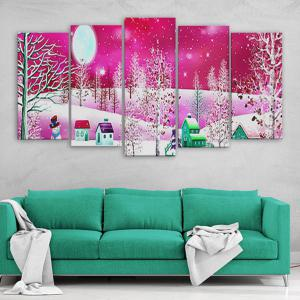 Christmas Snow Print Canvas Wall Art Paintings - PINK 1PC:16*39,2PCS:16*24,2PCS:16*31 INCH( NO FRAME )