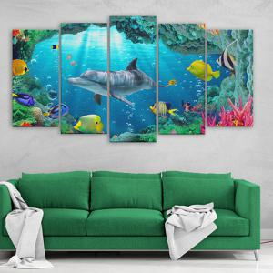 Dolphin Print Split Canvas Wall Art Paintings -