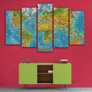 World Map Print Wall Art Split Canvas Paintings -