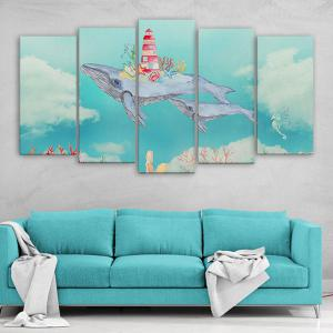 Wall Art Flying Fish Print Split Canvas Paintings - AZURE BLUE 1PC:16*39,2PCS:16*24,2PCS:16*31 INCH( NO FRAME )