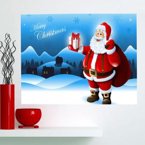 Removable Santa Claus Patterned Waterproof Wall Art Painting - BLUE 1PC:24*35 INCH( NO FRAME )
