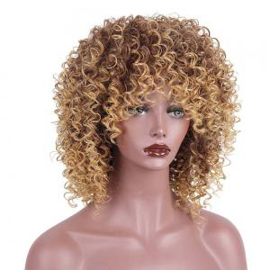 Medium Side Bang Fluffy Colormix Afro Kinky Perruque synthétique bouclée - Multicolore