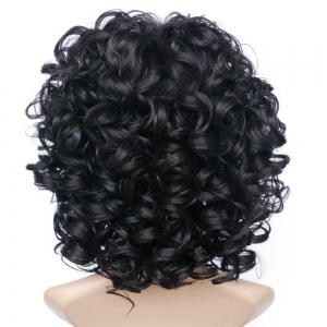 Short Side Bang Fluffy Curly Wave Synthetic Wig - JET BLACK 01#
