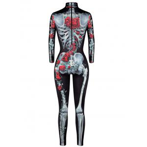 Rose Skeleton Print Halloween High Neck Jumpsuit - COLORMIX L