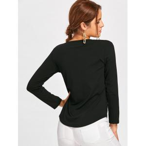Long Sleeve Lace Up Tee - BLACK S