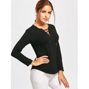 Long Sleeve Lace Up Tee - BLACK L