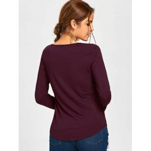 Long Sleeve Lace Up Tee - WINE RED L