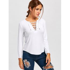 Long Sleeve Lace Up Tee - WHITE L