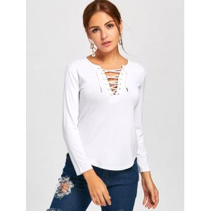 Long Sleeve Lace Up Tee - WHITE M