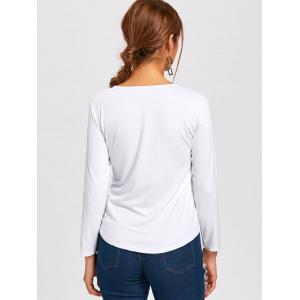 Long Sleeve Lace Up Tee - WHITE S