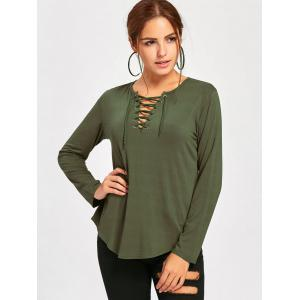 Long Sleeve Lace Up Tee - ARMY GREEN XL