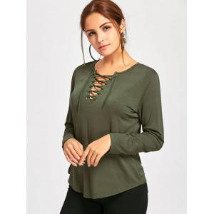 Long Sleeve Lace Up Tee - ARMY GREEN L