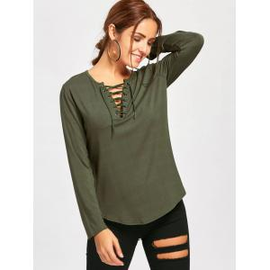 Long Sleeve Lace Up Tee - ARMY GREEN S