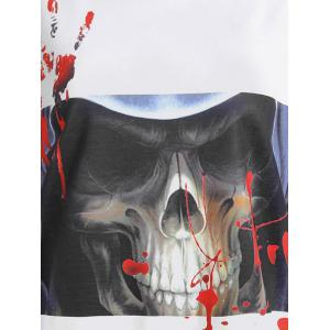 Halloween Skull Bloody Palm Printed T-shirt - WHITE AND BLACK L