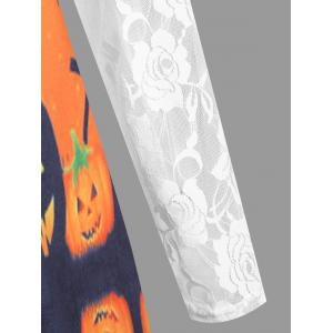 Plus Size Lace Panel Halloween Pumpkin Asymmetrical T-shirt -