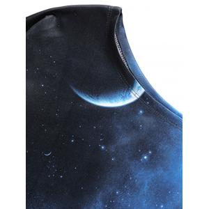 Universe Starry Sky Print One Shoulder Sweatshirt - BLACK AND BLUE M