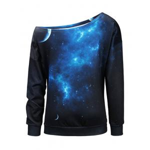 Universe Starry Sky Print One Shoulder Sweatshirt -