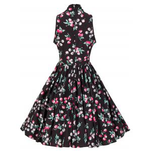 Bow Tie Neck Cherry Print Swing Skater Dress - BLACK 2XL