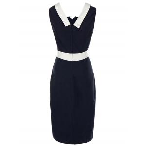 Color Block Vintage Bodycon Dress - PURPLISH BLUE 2XL