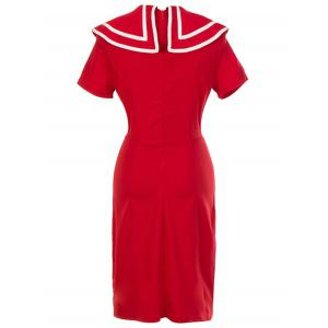 Retro Double Breasted Bodycon Dress - RED 2XL