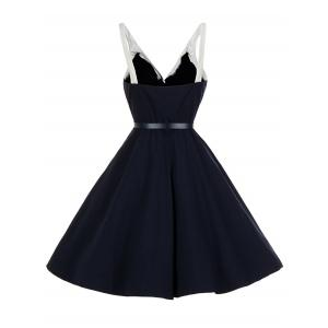 Vintage V Neck Buttoned Backless Skater Pin Up Dress - PURPLISH BLUE M