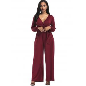 Wide Leg Surplice Belted Jumpsuit - WINE RED S