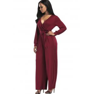 Wide Leg Surplice Belted Jumpsuit - WINE RED M