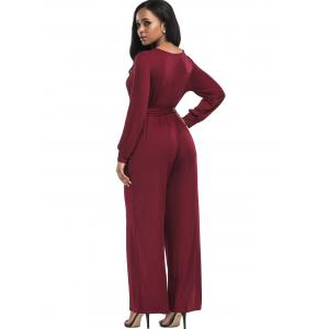 Wide Leg Surplice Belted Jumpsuit - WINE RED L