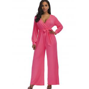 Wide Leg Surplice Belted Jumpsuit - PINK XL