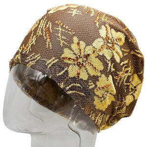 Floral Embroidery Pattern Lace Sequins Decorated Beanie - GOLDEN