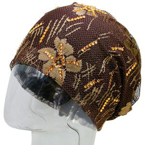 Floral Embroidery Pattern Lace Sequins Decorated Beanie - COFFEE