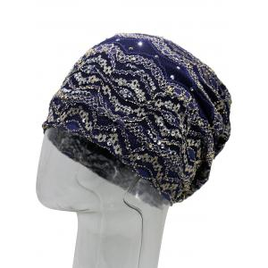 Vintage Striped Sequin Beanie Hat -
