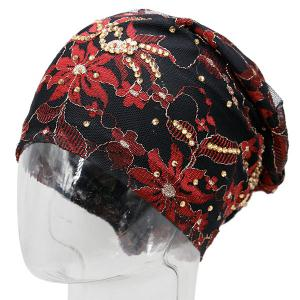 Vintage Floral Embroidered Rhinestone Decorated Beanie Hat - BLACK