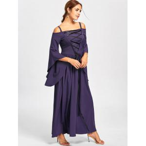 Purple 2xl Halloween Lace Up Cold Shoulder Dress | RoseGal.com