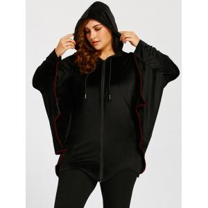 Bat Wings Plus Size Zip Up Hoodie - BLACK XL