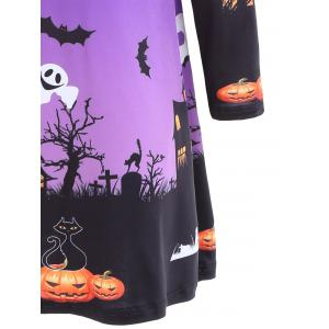 Long Sleeve Bat Print Swing Halloween Dress - PURPLE 2XL