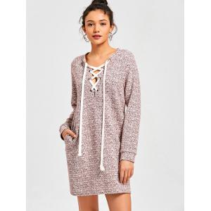 Heathered Lace Up Sweatshirt Dress -