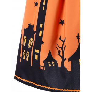 Halloween Bat Print A-line Skirt - ORANGE L