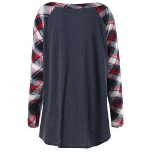 Plus Size Raglan Sleeve Plaid T-shirt - BLACK GREY 2XL